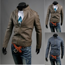 men's leather jacket fake single zipper