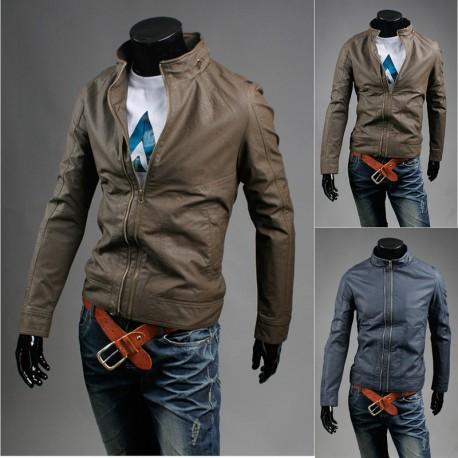 bărbați jacheta din piele cu fermoar fals singur