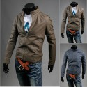 pánska kožená bunda falošný single zips