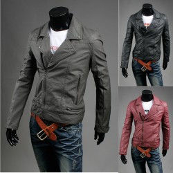 men's leather jacket quilt shoulder rider