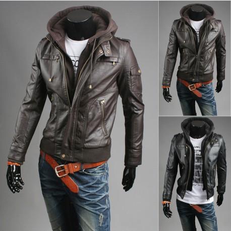 veste en cuir zippée à capuche du sein des hommes