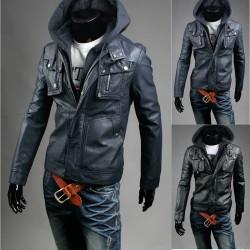 veste en cuir des hommes double poche portefeuille spécial