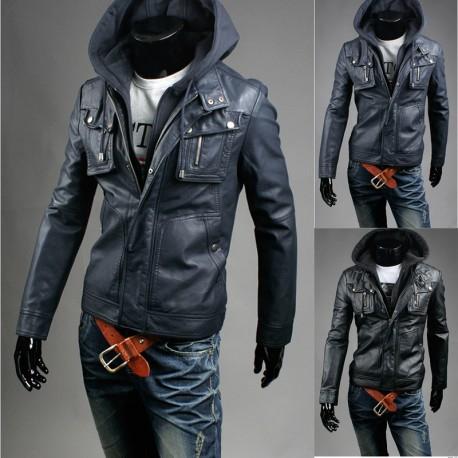 vīriešu ādas jaka dubultā special maku kabatā