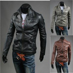 men's leather jacket racer triple zipper pocket