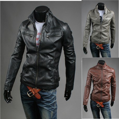 men's leather jacket double special wallet pocket