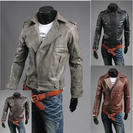 men's leather jacket crack washed rider