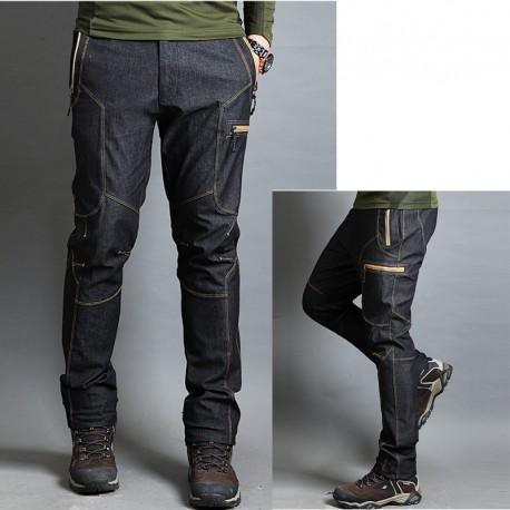 randonnée pantalons pour hommes jaune à glissière ligne
