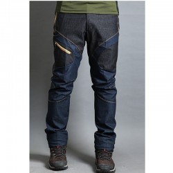 men's hiking pants denim mix blue