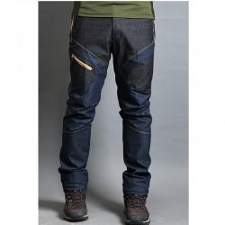 męskie spodnie na piesze wędrówki denim blue mix