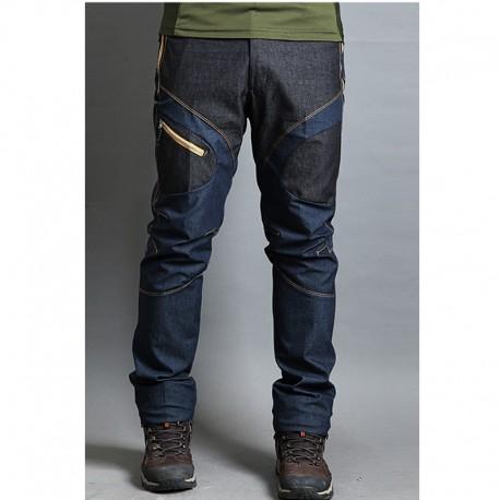pánské turistické kalhoty denim mix modrá