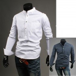 china collar simple line shirts