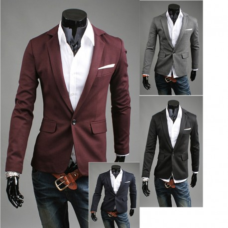 men's blazer handkerchief 1 button jacket