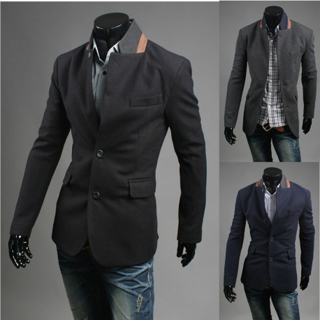 men's blazer orange collar coat