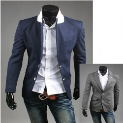 men's blazer white stitch button holl