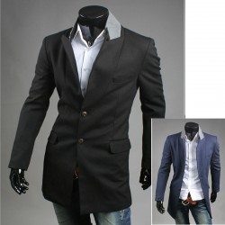pánský kabát dvě tlačítka šedá límec dlouhý