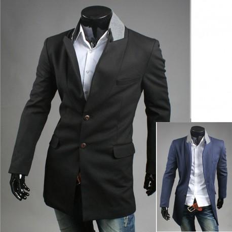 mænds coat 2 knap grå krave lang