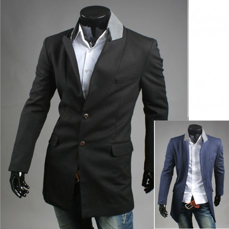 men's coat 2 button grey collar long