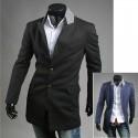 pánsky kabát dve tlačidlá šedá golier dlhý