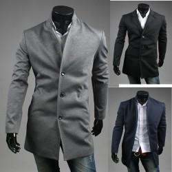 mężczyzna wełny długi płaszcz z 3 przyciskami