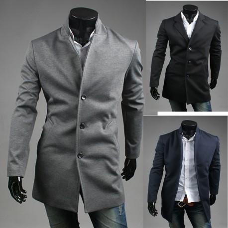 mænds uld lang 3-knap overfrakke