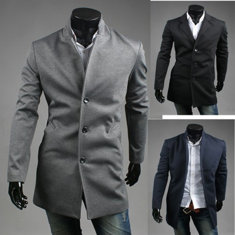 men's wool long 3 button overcoat