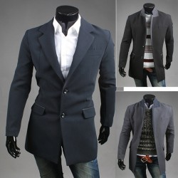 Männer Wolle langen Mantel