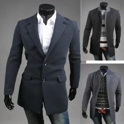 maschile di lana lungo cappotto