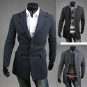 men's wool long overcoat