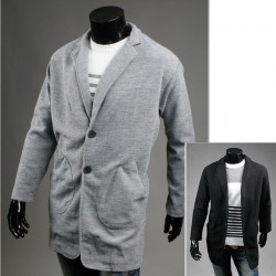 чоловіча шерсть довге пальто вільно кишеню