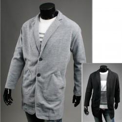 lână palton lung de buzunar liber pentru bărbați