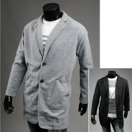 erkekler yün uzun palto gevşek cebi