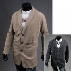 Männer Wolle langen Mantel beige