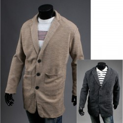 men's wool long overcoat beige