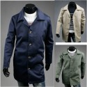 men's trench overcoat long comfortable