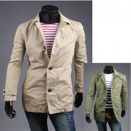 men's trench overcoat denim collar