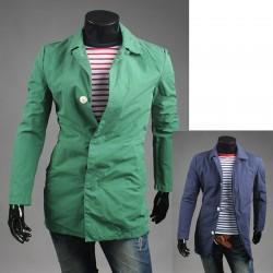 mænds trench lang frakke knap vagt