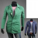 men's trench long coat button guard
