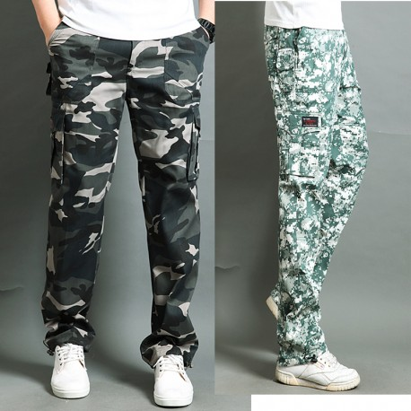 men's casual army cargo double pocket pant's