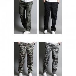 erkekler rahat askeri kargo çift cüzdan cebi pantolon en