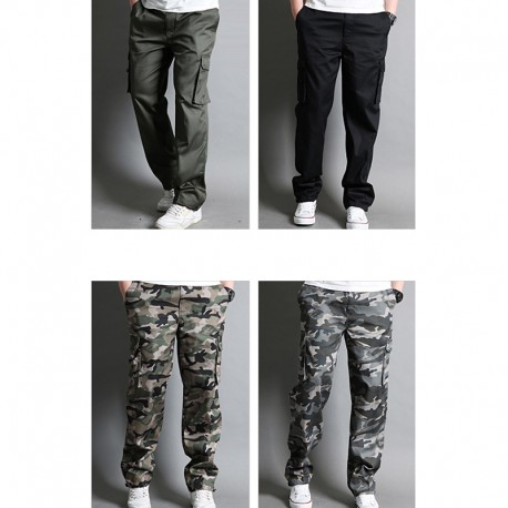 casual cargo militaire à double poche portefeuille de pantalon pour hommes