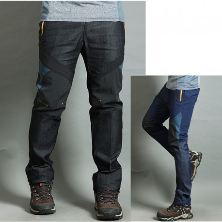 men's hiking pants denim mix solid yellow trousers