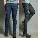 men's hiking denim single patch winter pocket pants napping