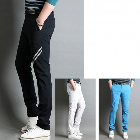 men's golf pants summer waist shining double stripe