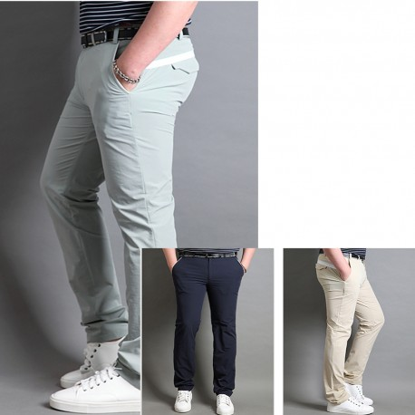men's golf summer cool pant's white wide line hip
