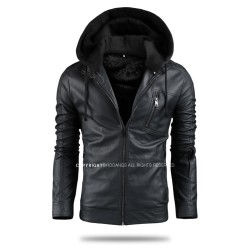 men's leather jacket velboa hoodie zipper split