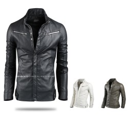 men's leather jacket double breast zipper china collar
