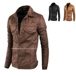 men's leather jacket suede button double pocket