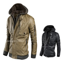 men's leather jacket hoodie single pocket