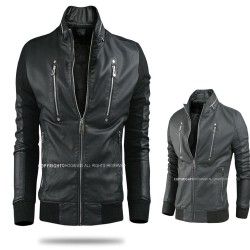 men's leather jacket wool coat sleeve