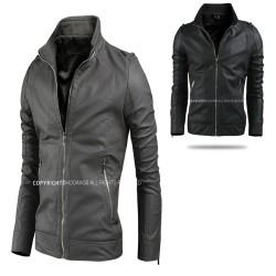 men's leather jacket shoulder strap double